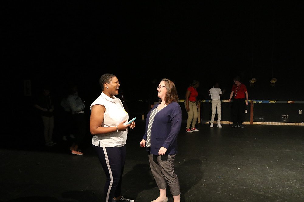 Nikki Toombs on stage with BCSD Fine Arts Director Anna Brock