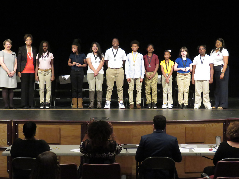 All 9 student participants of the spelling bee.