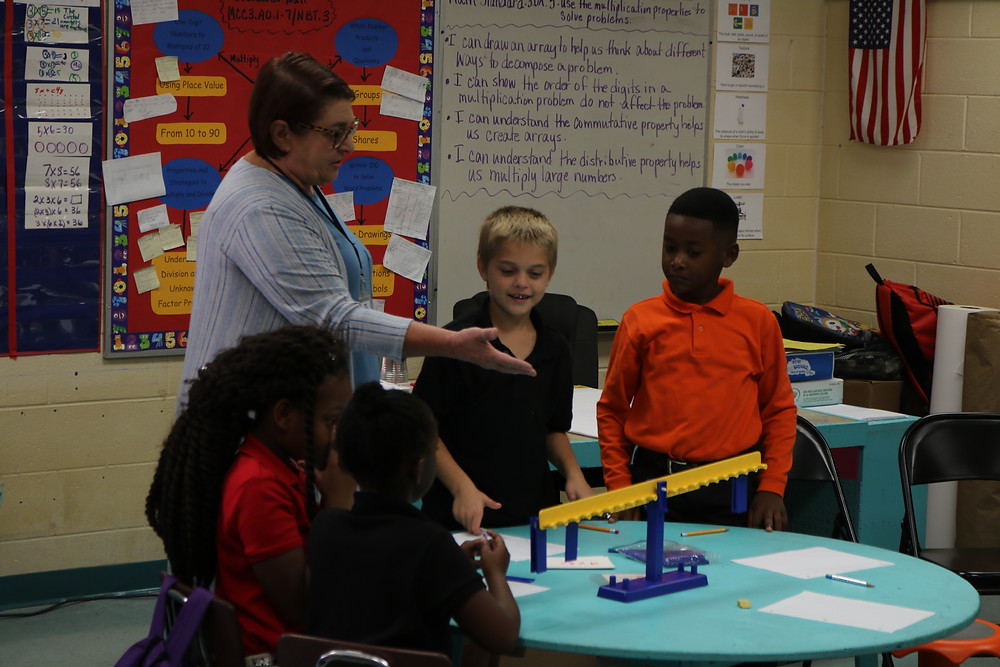 MHA Teacher of the Year Charlotte Sills leading her class through a STEM project.
