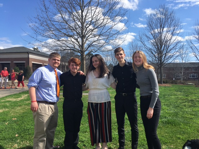 The five Governor's Honors Program semi-finalist from Baldwin High School pose for a picture on Berry College's campus.