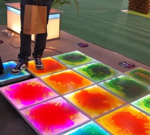 Interactive liquid tile light up floor - 6 panels and power adapter