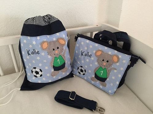 Kindergartenrucksack+ Turnbeutel Fußball Maus KTS0217
