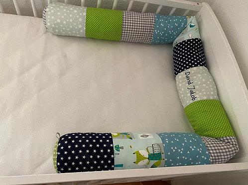 Bettschlange/Lagerungshilfe/Stillkissen mint, Blau und grau *Patchwork*