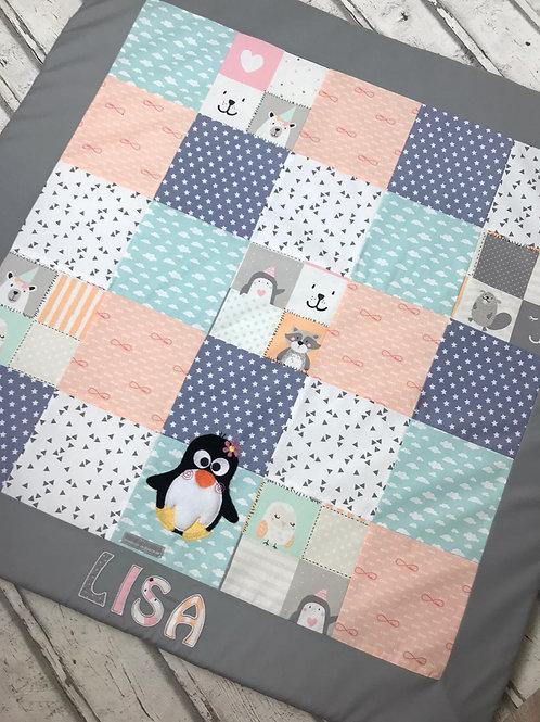 Babydecke/Krabbeldecke *Patchwork Pinguin und seine Freunde* KRD0439