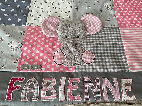 Babydecke/Krabbeldecke *Patchwork Elefant* KRD0426