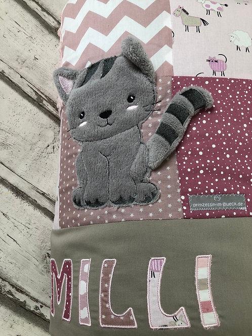 Krabbeldecke Patchwork Katze altrosa/rosa