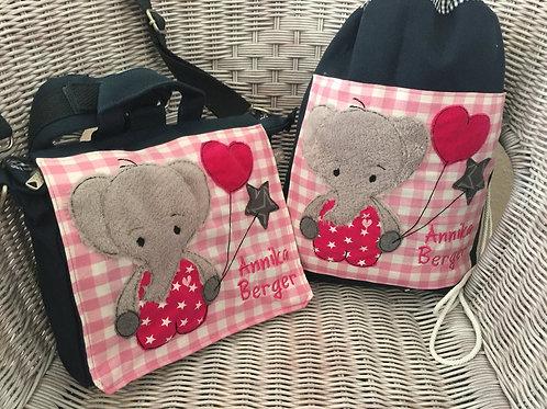 Kindergartenrucksack + Turnbeutel *Elefant* KTS0219