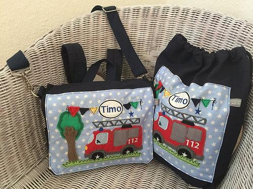 Kindergartentasche + Turnbeutel *Feuerwehr* KTS0211