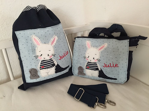 Kindergartentasche und Turnbeutel Hase und Bär