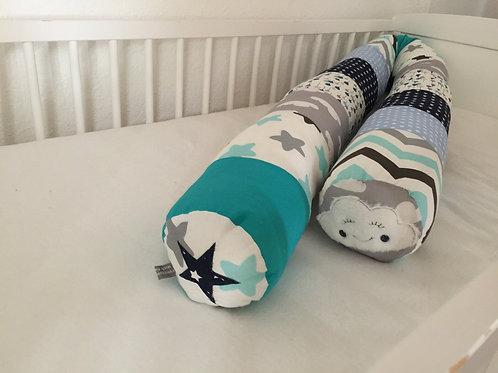 Bettschlange/Lagerungshilfe/Stillkissen mint, grau, blau *Patchwork* BS0108