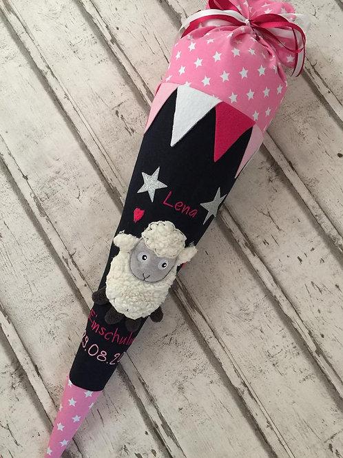 Schultüte Zuckertüte Schäfchen aus Stoff mit Glitzer inkl. Papprohling 70 cm