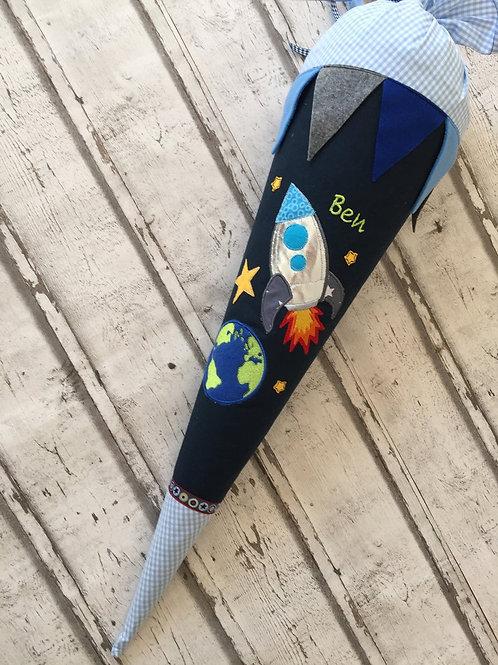 XL Schultüte Zuckertüte Rakete Weltraum aus Stoff mit Glitzer inkl. Papprohling