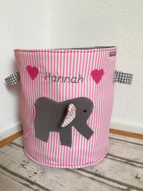 Spielzeugtasche/ Spielzeugtonne rosa *Elefant*