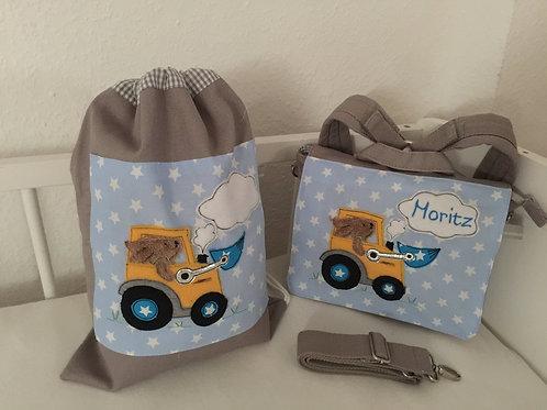 Kindergartenrucksack + Turnbeutel *Hase fährt Traktor* KTS0206