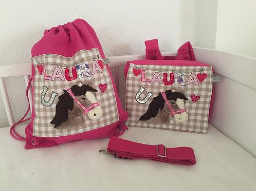 Kindergartentasche und Turnbeutel Pferd