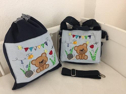 Kindergartentasche und Turnbeutel Bärchen
