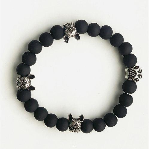 French Bulldog 8mm Black Beaded Bracelet