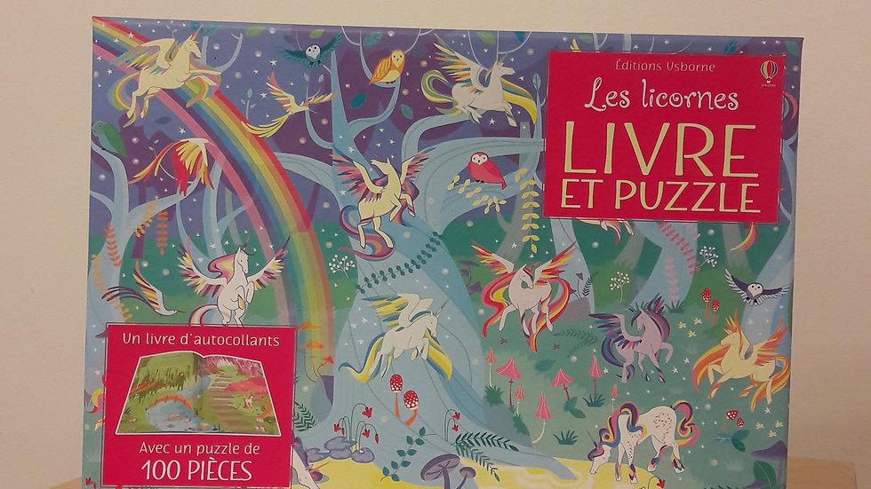 """Livre et puzzle """"Les licornes"""""""