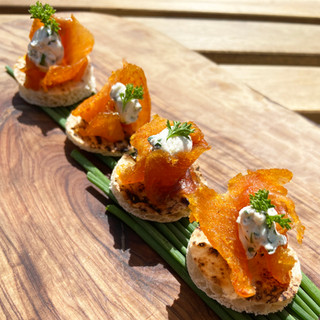 Cured trout canape
