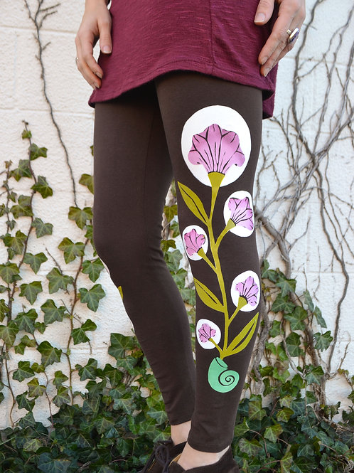 """Moon Flower"" Brown Organic Leggings"