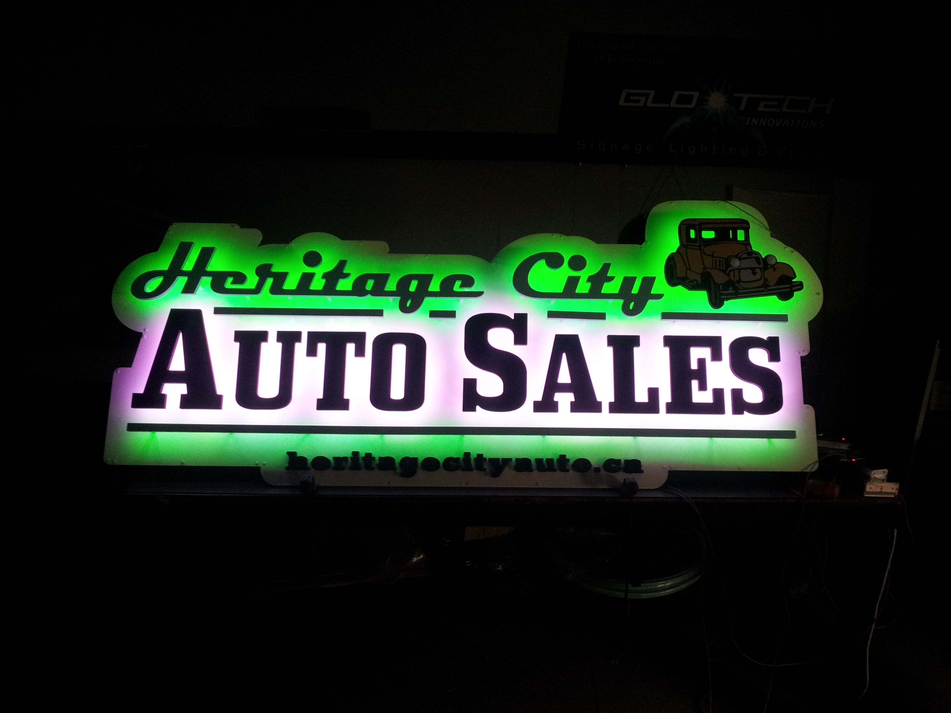 Heritage City Auto Sales Halo Sign