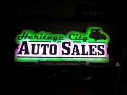 Heritage City Auto Sales Halo Sign