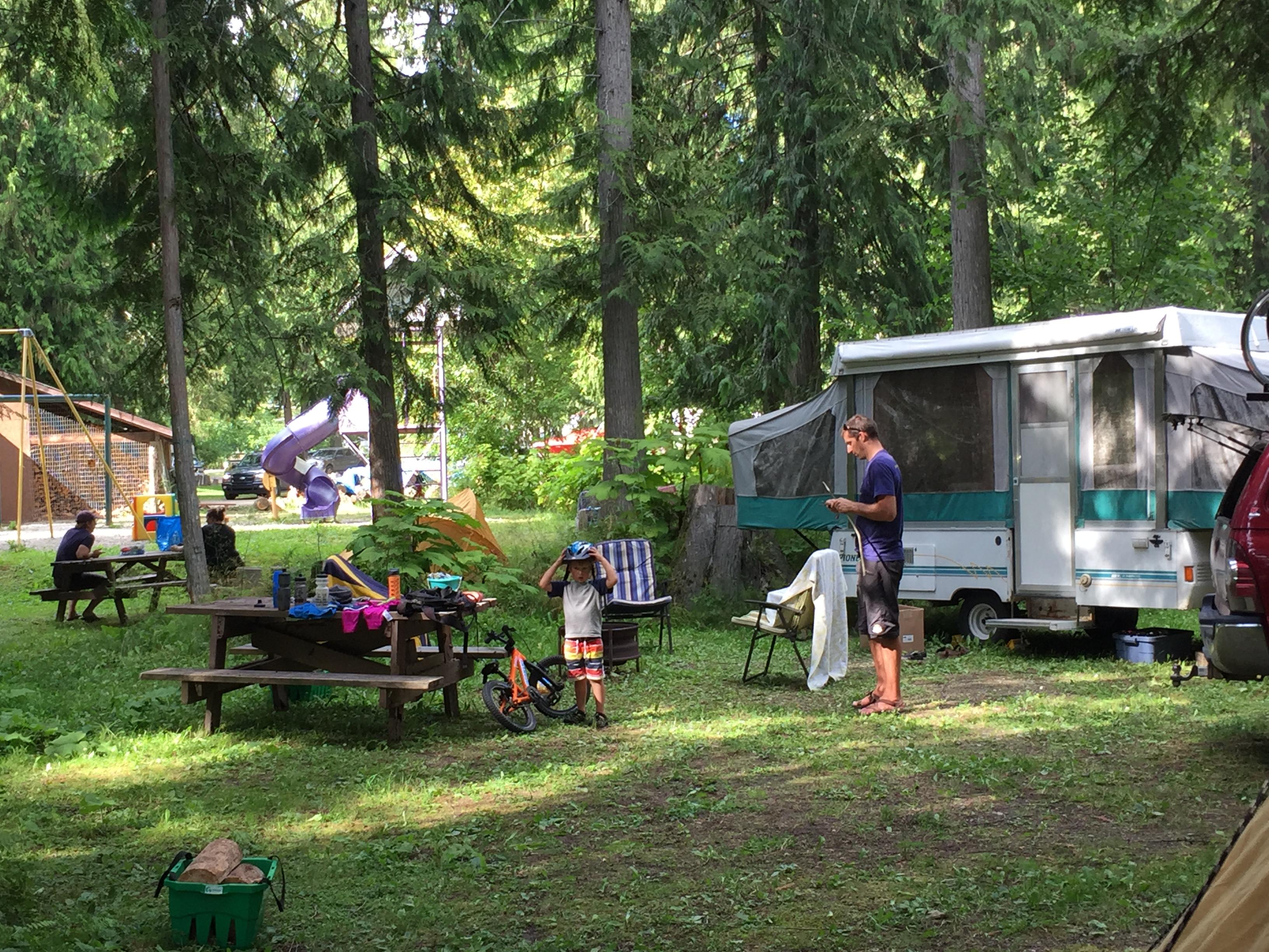 Family enjoying campground