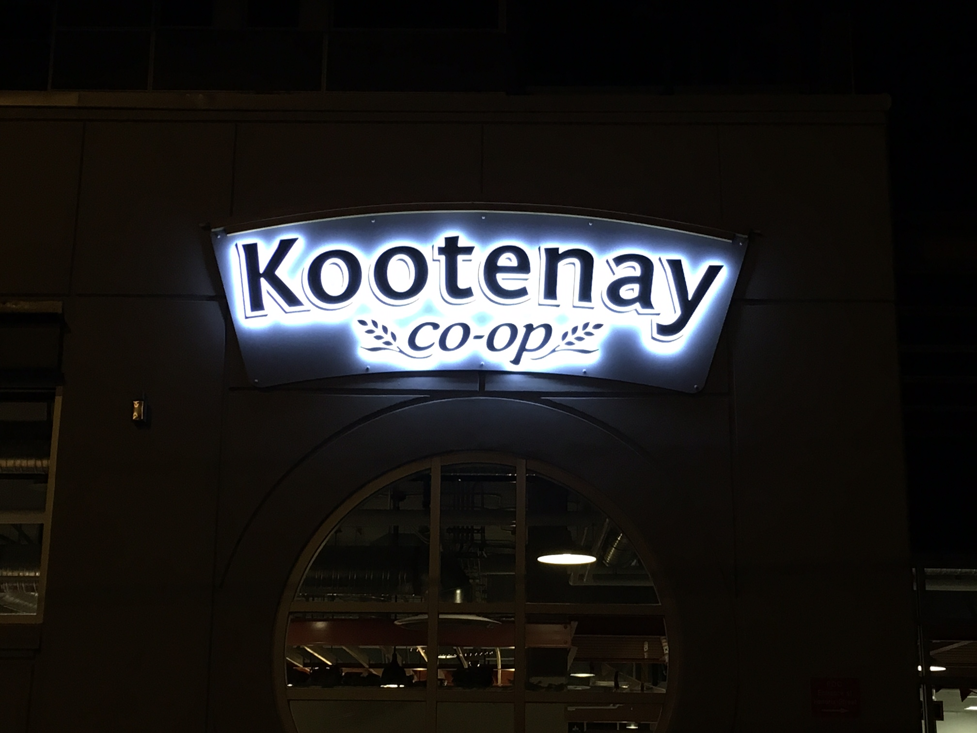 Kootenay Co-op Halo sign
