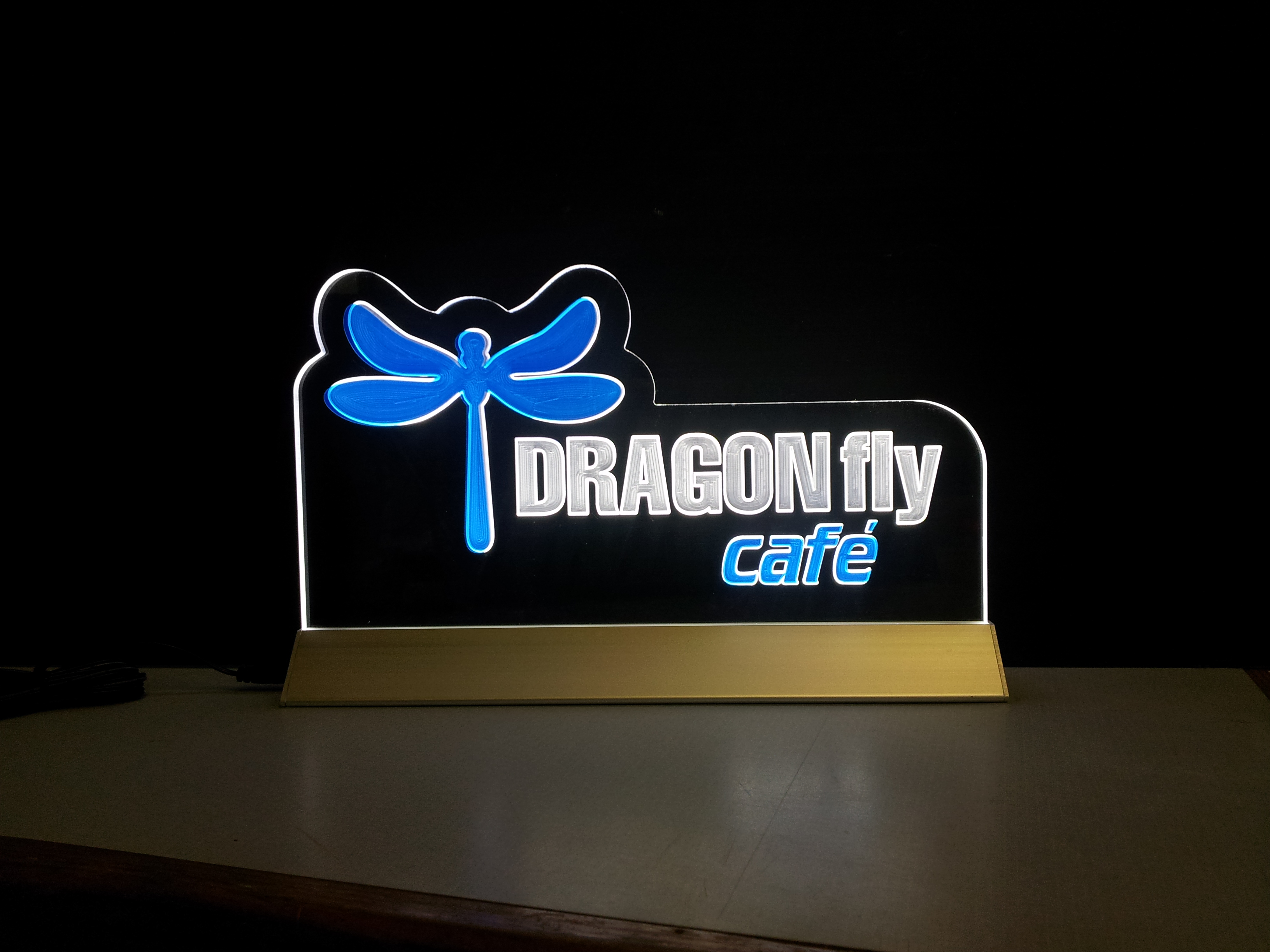 Dragonfly Cafe Edgelit Sign