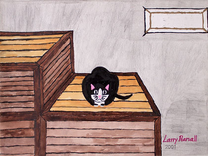 """Larry Pearsall 'The cat is on top' 10""""x13"""" Mixed Media"""