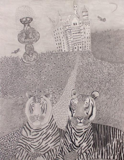 1. Dos tigres en el patio por el castillo