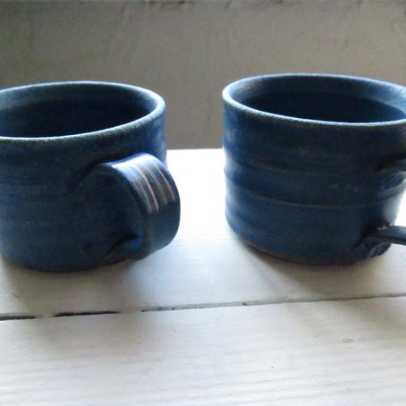 こいけちえ 陶器作品 -青/マグカップ-
