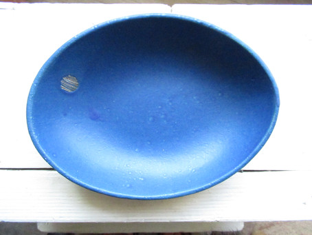 こいけちえ 陶器作品 -青/深皿-