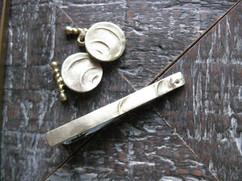 Tie pin, cuff links set-Gold Ripple-