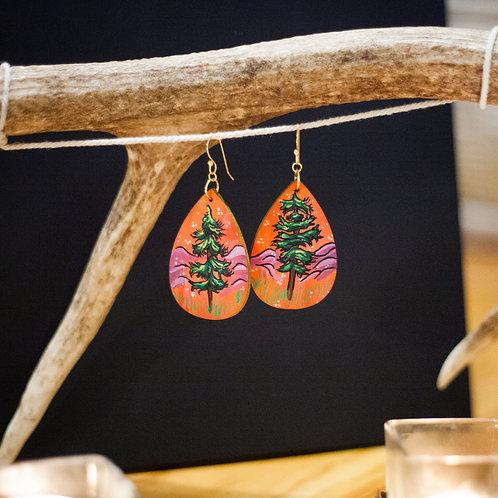 Pine Tree no. 2 // Hand-painted earrings