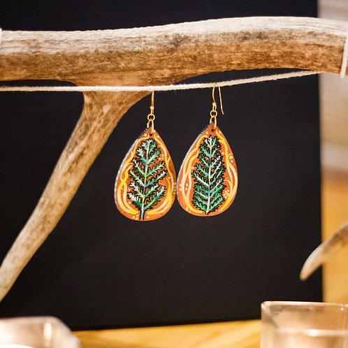 Fern no. 1 // Hand-painted earrings