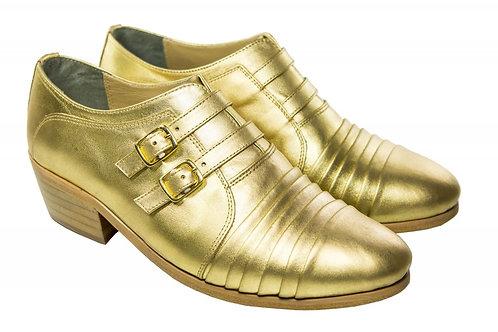 Sapato Masc. Mod. Fivela Dupla Dourado - Ref. 00025