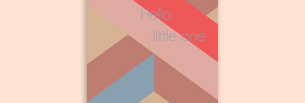 "CHEVRON ""Hello Little One"" New Baby Modern Greeting Card"