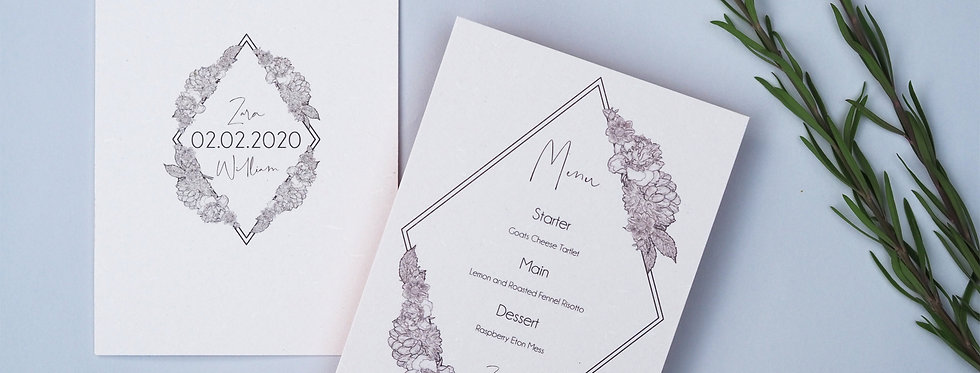 GEO flora Wedding Stationery Suite SAMPLE