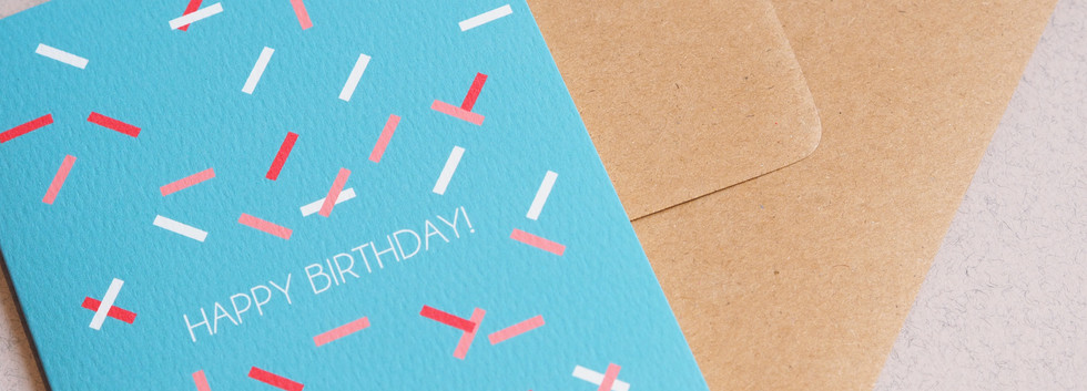CONFETTI HAPBIR greeting card close up s