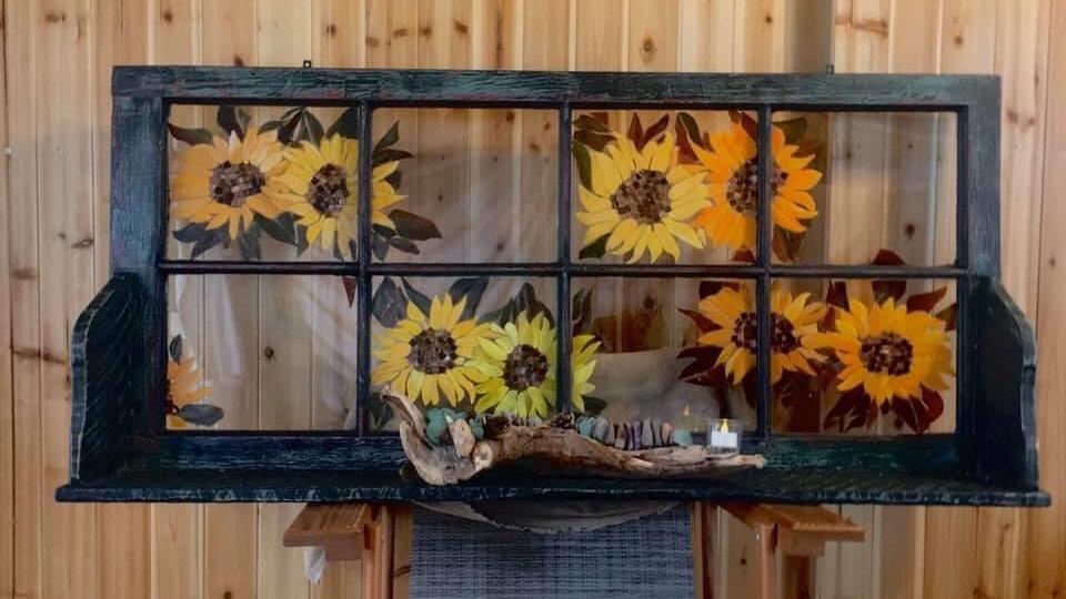 Sunflower window sash shelf
