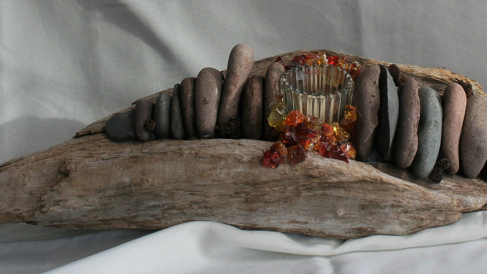 Driftwood and Rock Candle Holder