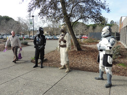 Cosplayers outside