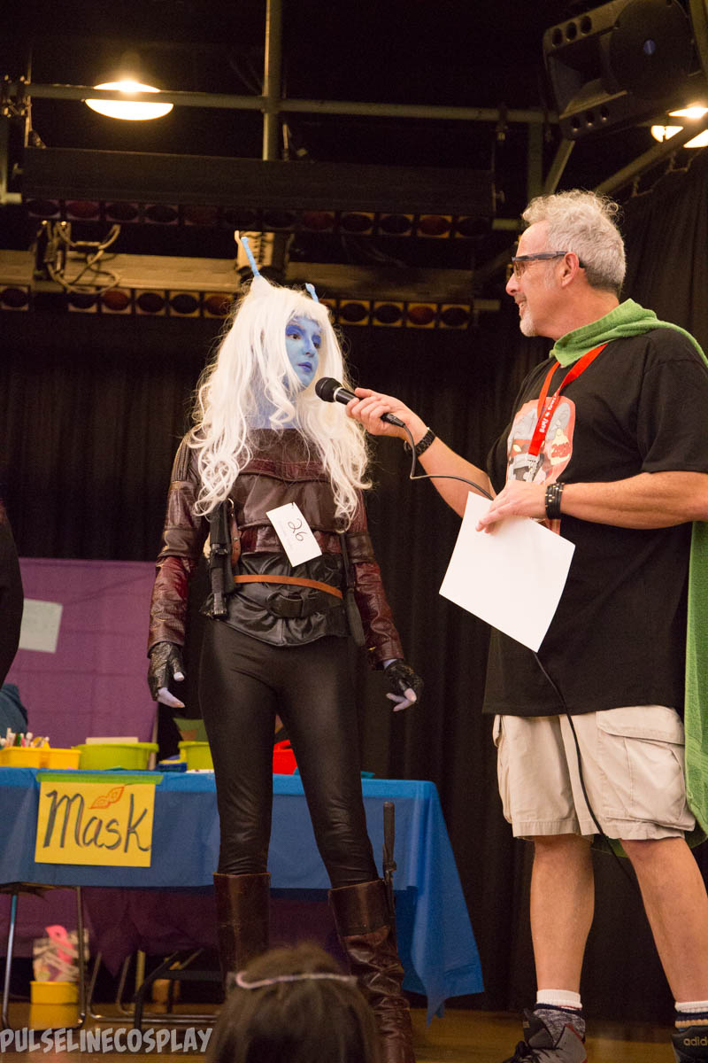 Mike interviewing cosplayer
