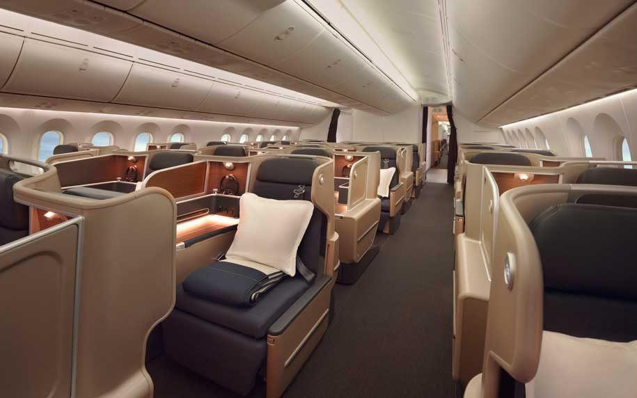 Qantas' Business Class Cabin on their 787-9 Dreamliner