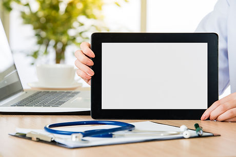 doctor show digital tablet to check patient's medical case, health care and medicine conce