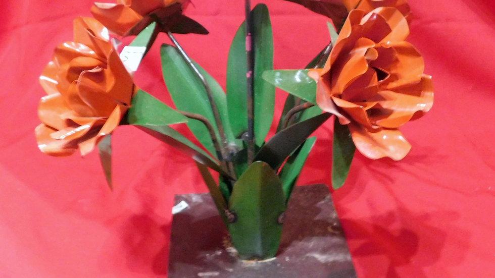 Orange Flowers with Tin Base