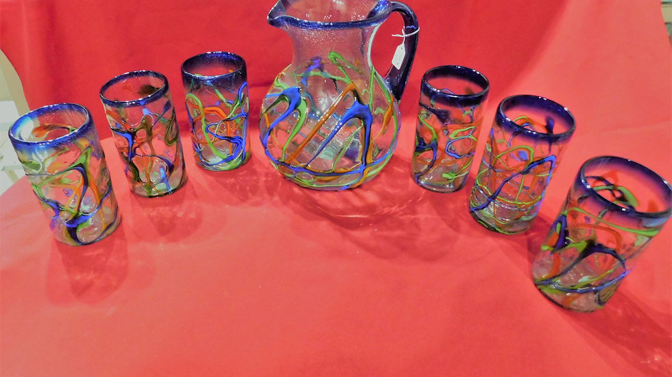 Pitcher Glass blown Set colorful