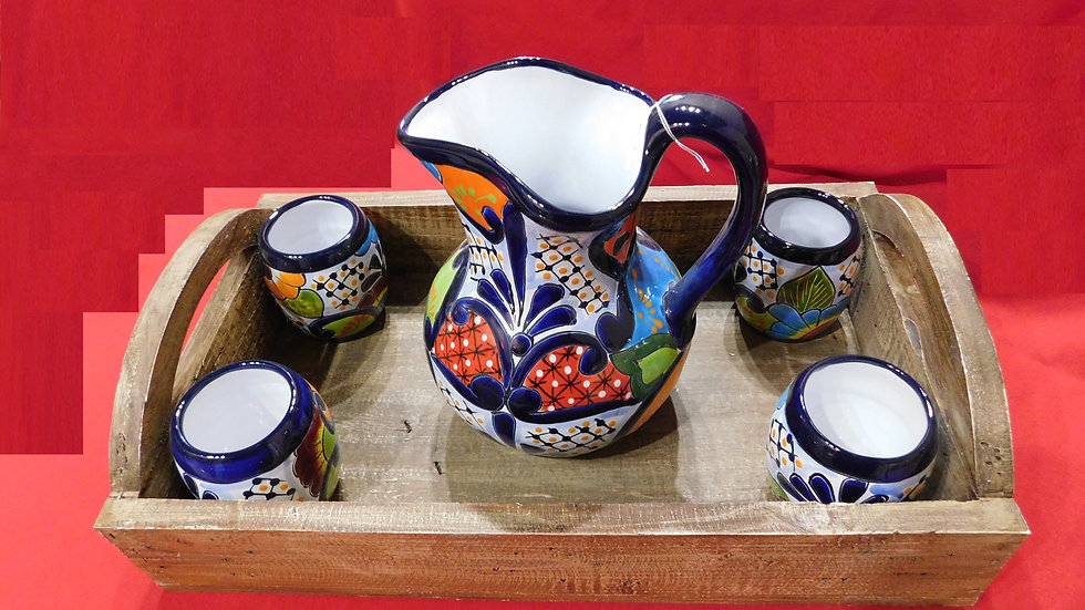 Talavera Pitcher with cups & Tray
