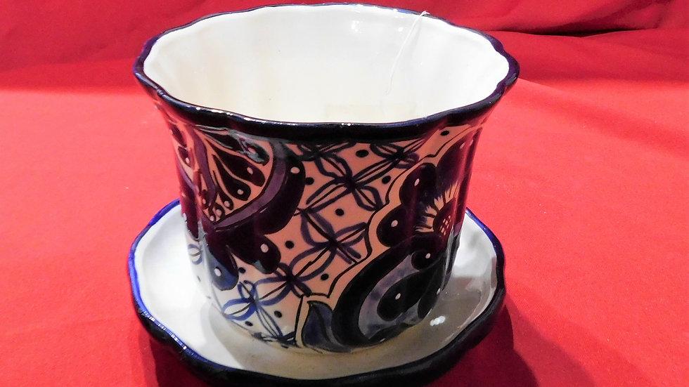 Blue Talavera Pot with Plate Small
